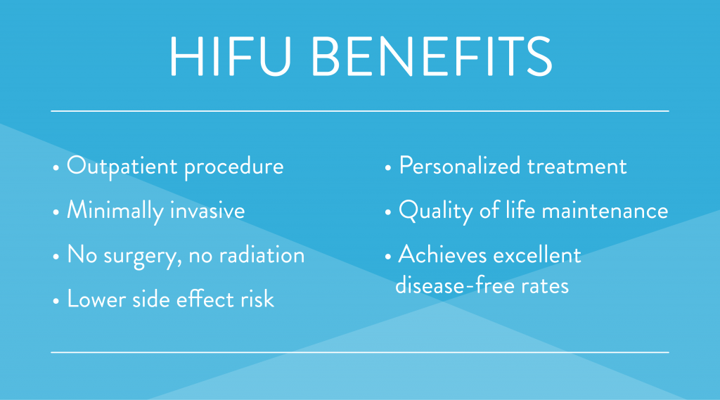 HIFU treatment benefits bulleted list blue and white